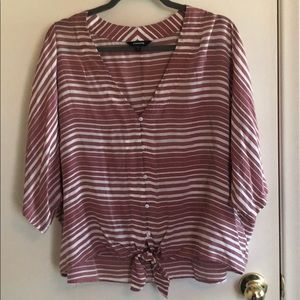 Express Stripped Tie Front Blouse.